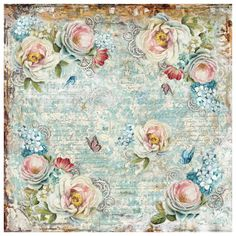 Stamperia - Rice Paper Napkin - White Roses and Gearwheels - PreOrder