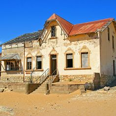 'House in ghost town of Kolmanskuppe' by Rudi Venter Abandoned Houses, Abandoned Places, Namibia, Out Of Africa, Africa Travel, Ghost Towns, Route 66, Urban Design, Cape Town