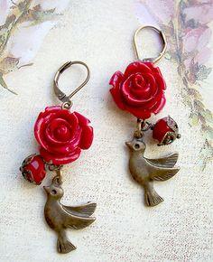 Orecchini vintage style bird rose rosse