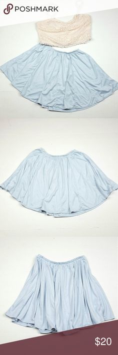 Brandy Melville baby blue faux suede Riana skirt Brandy Melville size small baby blue faux suede Riana mini skater skirt. Super soft mini skirt that looks great with a crop top and statement necklace.  85% cotton 15% polyester Brandy Melville Skirts Mini