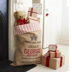 Letterpress Christmas Sack with Ticking Trim. Personalized Christmas Gift Ideas // Personalized Christmas Decorations // Personalized Santa Sack // Christmas Interiors