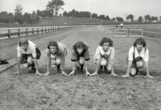 """July 29, 1922. Newark, New Jersey. """"Girl athletes to sail on Aquitania. Stine, Sabie, Gilliland, Batson, Snow."""" Contestants bound for Paris, France, and the first international track meet for women."""