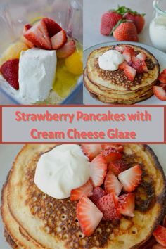 Strawberry Pancakes, Strawberry Breakfast, Strawberry Cookies, Strawberry Desserts, Strawberry Cheesecake, Mini Desserts, Delicious Desserts, Cheesecake Pancakes, Lemon Cheesecake Recipes