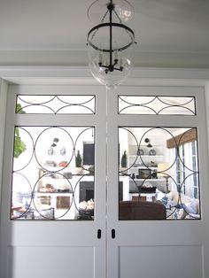 Pocket doors with glass panels. Super neat, no place to do this in my current house, but maybe someday.