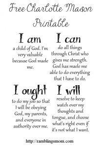 I Am, I Can, I Ought, I Will: Free Charlotte Mason Printable