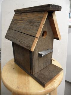 Antique barnwood birdhouse Natural old by LynxCreekDesigns