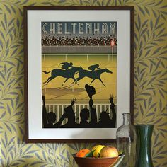 Original Design Cheltenham Races Racecourse A3 A2 A1 Poster Horse Art Deco Bauhaus Print Vintage Vogue Horses Animals Royal Ascot