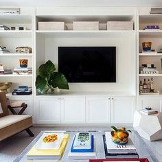 Living Room with Built In Media Center, Transitional, Living Room