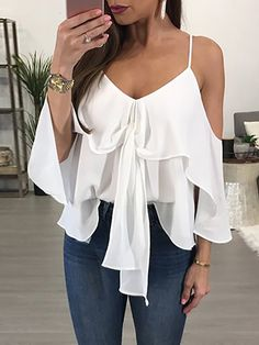 Trendy Deep V Cold Shoulder Ruffled Casual Blouse