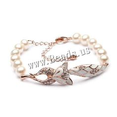 Freshwater Cultured Pearl Bracelet, Freshwater Pearl, with Brass, with 5cm extender chain, Fox, rose gold color plated, natural & enamel & with cubic zirconia, white, 7-7.5mm,china wholesale jewelry beads