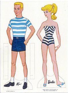 1962 Barbie and Ken paper dolls / picasaweb.google.com
