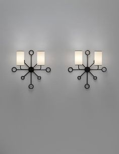 PHILLIPS : UK050314, Jean Royère, Rare and important pair of 'Yo-Yo' wall lights
