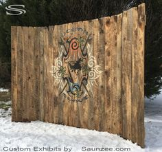 Custom Trade Show Booth Rustic Barn Wood Exhibits Beautiful Old Aged Wood Portable Free Standing Exhibit Winter Colorado Ski Snowboard Expo