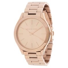 Show off your style with this elegant rose goldtoned watch by Michael Kors. This timepiece is stainless steel and water resistant up to 50 meters.