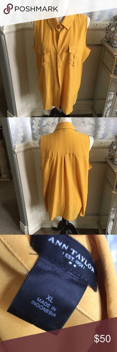 Ann Taylor XL Mustard Tank on Trend Ann Taylor XL Mustard Tank on Trend! Perfect Mustard color on trend. Great to layer and accessorize w current accessories. Ann Taylor Tops Button Down Shirts