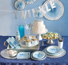 48 Teile Erster Geburtstag Blinke Kleiner Stern Blau Party Deko Set 16 Personen