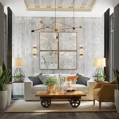 salón moderno con pared de hormigón expuesta