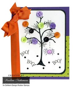 DeNami Halloween Spider Glitter Tree card   Use leaves instead of buttons.  Inking in purple, orange, green and black