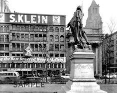 Lafayette Sculpture and S Klein's, Union Square, Manhattan, 1936 : Photo Gallery : New York City Department of Parks & Recreation : NYC Parks New York Architecture, Architecture Images, Vintage Architecture, Vintage New York, New York City, Photo New York, Berenice Abbott, Lower East Side, Union Square