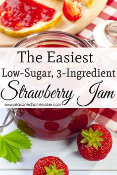 Do you love Homemade Organic Strawberry Jam? This is the easiest way to make fresh, organic Strawberry Jam. This recipe is for a single batch of Strawberry Jam that can be made in 15 minutes. It only uses 3-ingredients and is pectin-free. Best of all, thi