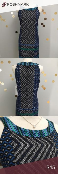 Brand New! London Times Dress Gorgeous black and blue dress! Very classy. Would look great with a blazer or cardigan! London Times Dresses Midi