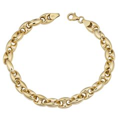 Fremada 14k Gold High Polish Puffed Mariner Link Bracelet