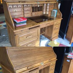 Exquisite roll top desk with great features and storage. $999 #desk #office #house #home #house #mk #consignment #furniture #forsale #rolltop #unique