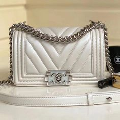 9238e3bd39528 Chanel Metallic Lambskin Small BOY CHANEL Handbag with Resin  amp   Silver-tone Metal A67085