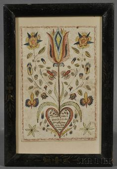 """Polychrome Painted Fraktur, possibly Lebanon, Pennsylvania, c. 1824, ink and watercolor on paper birth announcement ornamented with a tulip, flower blossoms, and a heart with ink inscriptions """"Michael Grabiel was born the 27th of September, 1814/1824,"""" (tears, toning, laid down), 6 1/2 x 4 1/4 in., in a stencil-decorated period frame."""