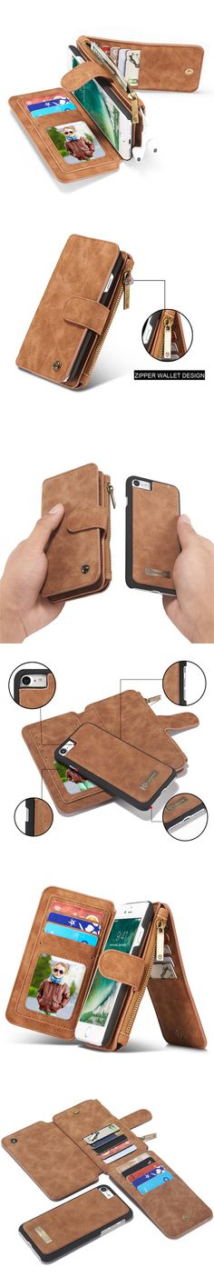 Genuine Leather 2 in 1 Phone Case for iPhone 7 7S 6 6S Plus 5 5S SE Luxury Magnetic Flip Cover Zipper Wallet Bag Card Slots