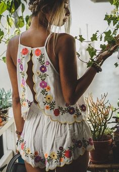 Summer suit with floral print backless - LadyStyle