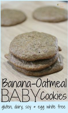 Allergy-free recipe for homemade healthy Banana Oatmeal baby food cookies. Gluten free, soy free, dairy free, egg white free