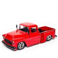 Miniatura Chevy Stepside 1965 Vermelho - Jada 1:24 - Machine Cult | Loja online especializada em camisetas, miniaturas, quadros, placas e decoração temática de carros, motos e bikes