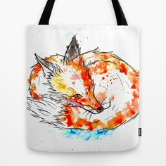 Watercolour Fox products including totebags available now