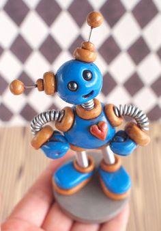 Blue Bob Mini Robot Sculpture Adorable Desk Companion by RobotsAreAwesome, $25.00