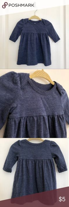 Old Navy, Jersey Dress, Blue, Baby Girl, 0-3M Old Navy Jersey Dress is simple and comfortable for baby featuring super soft jersey and an envelope opening for easy changes.  60% Cotton/40% Polyester. Machine wash.  Gently worn, great condition. Old Navy Dresses Casual