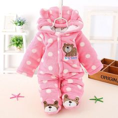 Baby Toddler Romper Coverall Hooded Infant Jump Suit bear logo and feet Warm Fuzzy Winter Autumn Cute