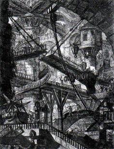 Giovanni Battista Piranesi. Tower with Bridges,   from Prison Caprices. 1760-61.  Etching, 55.2 x 41.6 cm.   The Metropolitan Museum of Art, New York
