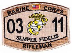 US Marine Corps 0311 Rifleman MOS DESERT Patch