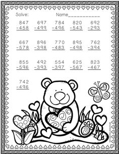Need extra subtraction practice? These ten pages focus on three digit subtraction. Most problems require regrouping. No prep, just print and go. There is an answer key included. Math Worksheets, Math Activities, Teaching Resources, Second Grade Math, Elementary Math, Math Lessons, Math Centers, Valentines, Math Sheets