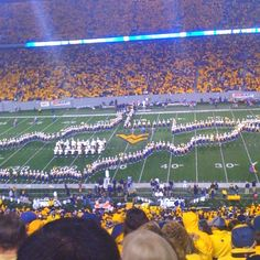 WVU stadium: marching band in the best formation!