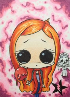 SUGAR FUELED AMY POND DR. WHO DOCTOR WHO CUTE ORIGINAL CUSTOM ACEO SKETCH CARD