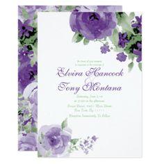 Purple Watercolor Rose, Wedding Invitations