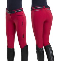 Available in Black, Blue (navy) and Zaffiro (light blue) WOMAN BREECHES KNEE GRIP Breeches in Schoeller fabric, knee grip system. Decorative tape on front and back pockets. Embroidery and patch on bac