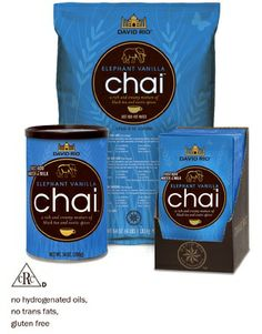 David Rio Elephant Vanilla Chai - Retail cans and packets available.