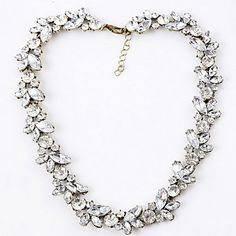 Simple Clear Rhinestone With Silver Alloy Torque(1 Pc) – USD $ 10.39