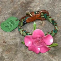 Shades of Green Leather Dog Collar with Hot Pink Flower – Bark Label