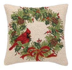 Cardinal on Wreath Hook Wool Throw Pillow
