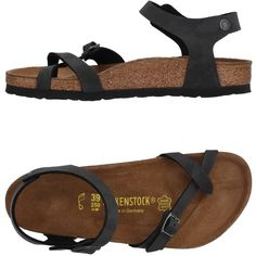 Birkenstock Toe Post Sandal ($89) ❤ liked on Polyvore featuring shoes, sandals, steel grey, flat sandals, thong sandals, birkenstock footwear, birkenstock shoes and buckle sandals