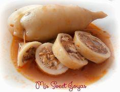 Calamares rellenos de gambas al ajillo, jamón, huevo y atún. ¡Riquísimos! | Cocina